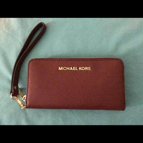 4956bdc91b49 Michael Kors Bags | Oxblood Leather Wristlet | Poshmark